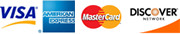 We Accept Visa, MasterCard, American Express and Discover cards